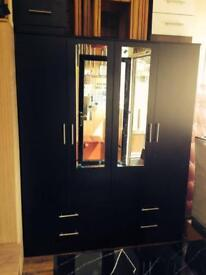 Black 4 Door Wardrobe