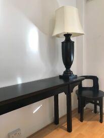 Unique Mahogny Console Table Black Glossy Vintage & Chair Desk India Jane