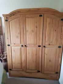 3 door solid wooden wardrobe