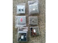 6 switches / telephone sockets incl dimmers, cooker switch. all chrome plated and new-see picture
