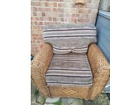 Large solid wicker arm chair