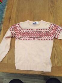 Girls Christmas jumper. Pink 4-6 years £2