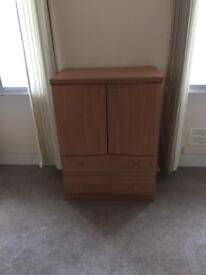 Birchwood veneer cupboard with drawers