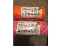 Children's character sleeping bags pink orange & blue adult sleeping bag