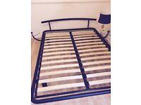 King Size Swedish Design Metal Frame Bed with Integral Bedside Tables