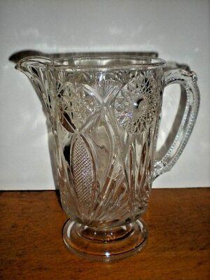 Antique Pitcher Water Milk Lemonade large EAPG Stars Fans pattern