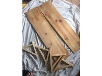 Pine ikea shelves and brackets