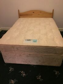 Double divan bed with miracoil mattress
