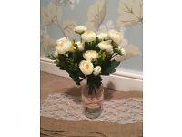 13x Artificial white peony wedding flowers
