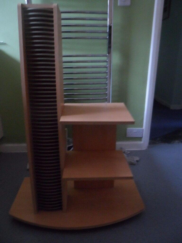 Pedestal CD Stand with 2 shelves