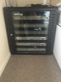 3 x routers, 3 x Switches plus cabinet and cabling