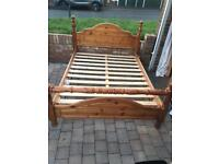 Solid pine king size bed frame in excellent condition