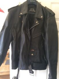 Black leather bike style jacket