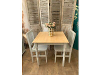 Lovely dining table with 2 chairs in shabby chic farmhouse style