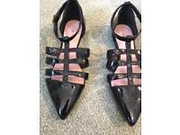 Next black summer sandals - size 5 1/2
