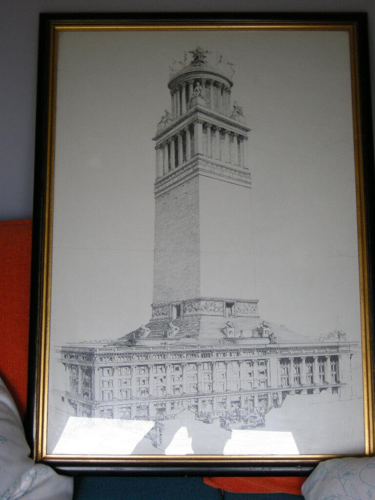 Selfridges Line Drawing Print in Quality Frame