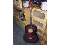 Alba acoustic guitar, black and red