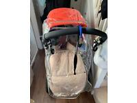 Red colour Bugaboo C3 with full set of seats and accessories