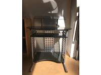 Stunning Black Gloss Computer Trolley with pull out drawer for key board