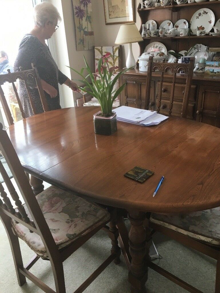 Ercol Dining Room Table And 4 Chairs Exeter