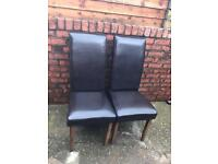 2 brown leather dining table chair
