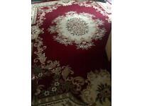 Large living room red patterned rug