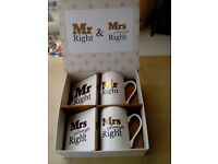 Mr Right and Mrs Always Right. Cups & Coasters Gift Set. New