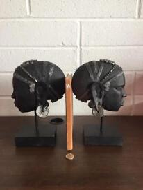 Heavy African bookends