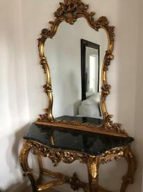Gold Mirror and Marble Table set