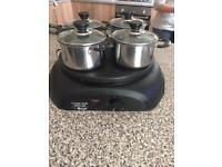 4 small pan hob and food warmer