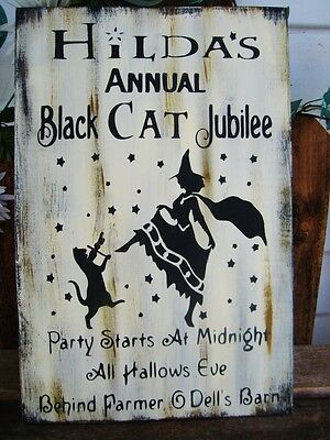 Primitive Sign Halloween Witch Jubilee Barn Dance Black Cat Party Sign (Halloween Party Sign)