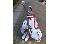 Ladies golf clubs, bag, trolley and Nike shoes