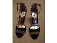 Stunning black and gold peep toe high heeled shoes from Dune - unworn and as new. Size 41