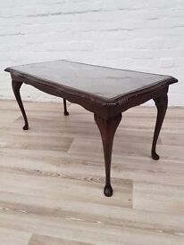 Queen Anne Style Coffee Table With Glass Insert (DELIVERY AVAILABLE FOR THIS ITEM OF FURNITURE)