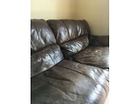 FREE Brown leather Three Seater Sofa