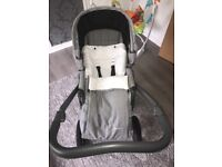 Grey Babystyle pram & buggy with matching cosy toes, parasol & rain cover. Great condition