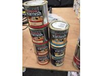 Quick drying wood Varnish by ronseal 4 tins 1 l in 10 difrent coulours gloss or satin
