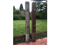 Pair of wooden gate posts for sale.