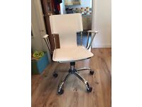 Stylish Swivel Leather Office Chair With Armrest & Adjustable Height and Tilt (White)