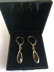 14k gold + citrine drop earrings