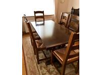 Antique solid oak table and chairs and Edwardian oak sideboard