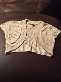 Beige cropped cardigan new look size small
