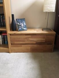 Solid Oak 2 Drawer storage unit. Great condition with matching corner TV unit availabe for sale too.