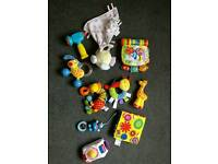 BIG box of baby rattles, toys, bibs & one tommee tippee bottle cosy