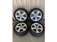 "16"" Genuine Audi A1 Alloy wheels and tyres 5x100 Suit Audi A1, Seat Ibiza, VW Polo etc"