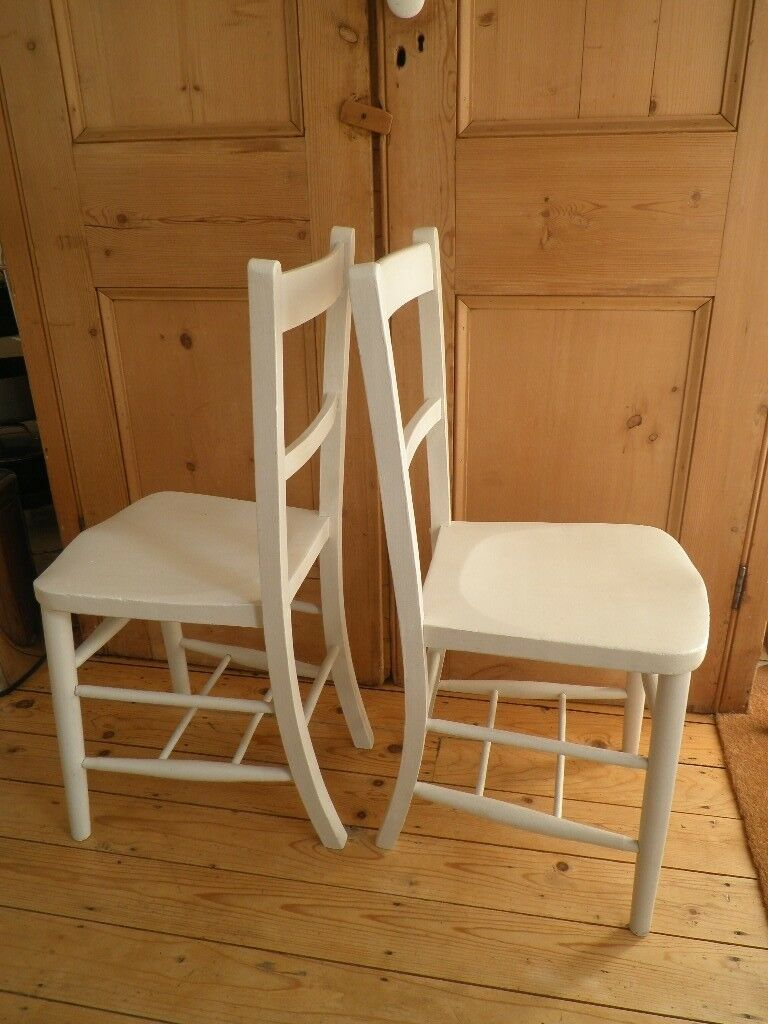 Two Painted Off White Beech Elm Wood Vintage Kitchen Chairs