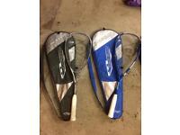3 squash rackets