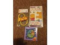 Winnie the Pooh clock and wall stickers and lion curtain hooks