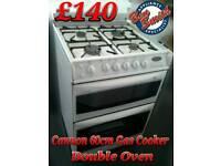 Gas Cooker 60cm Double Oven Canon White