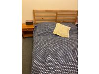 IKEA double bed solid wood frame (with mattress if desired)